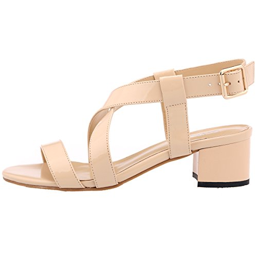 ZriEy Women's Classic Fashion Buckle Mid Chunky Heel Sandals Ultra Comfort Low Heel Nude size 10