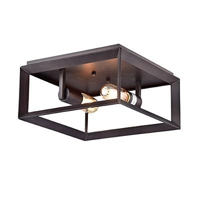 Dazhuan Vintage Industrial 2 Lights Metal Square Cage Chandelier Flush Mount Ceiling Light Lamp