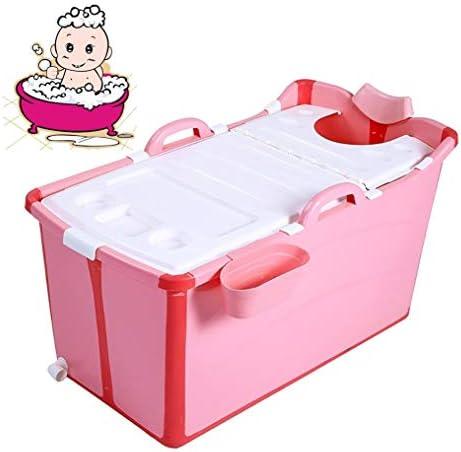 折りたたみバスタブ GYF 折り畳み式バスタブ ポータブル大人用バスタブ プラスチックカバーホーム全身 子供用入浴バケツ 厚くなった大人の浴槽 バスタブ幼児 91x50x53cm (Color : Pink)