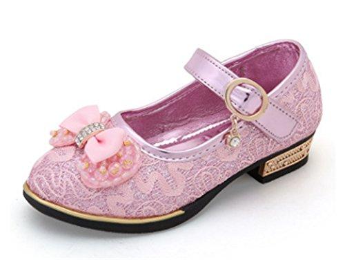 YOGLY Zapatos para Niñas Princesa Zapatos Tacones Baile Zapatos de Niña Flor Rosa