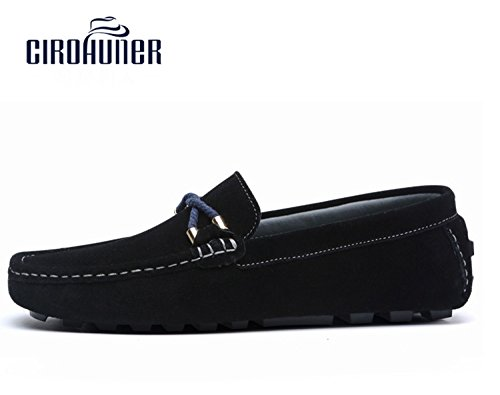 Cirohuner Mens Casual In Pelle Scamosciata Mocassini Slip-on Driving Shoes Nero