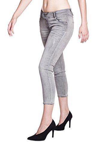 Blue Monkey Jeans Jeans - Capri - Uni - Femme Gris