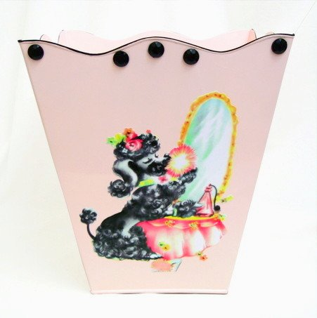 Retro Vintage Wastebasket, Trashcan, Trash Holder, Trash Basket ~ E25 Shabby Chic Pink Wave Edge Wastebasket with French Vintage 40's Poodle Art. 41i gFkLHLL