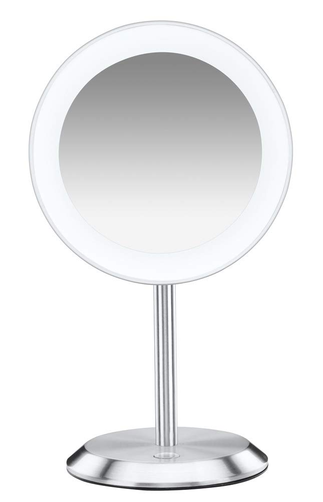Conair Single-Sided Lighted Makeup Mirror - Lighted Vanity Makeup Mirror with LED Lights; 8x magnification; Satin Chrome Finish