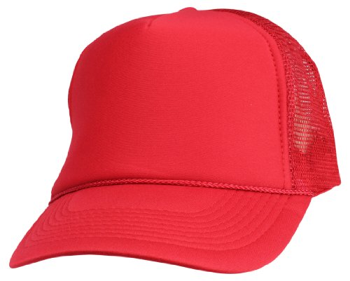 - DALIX Blank Hat Summer Mesh Cap in Red Trucker Hat