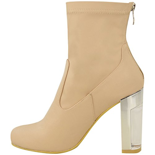 Fashion Thirsty Womens Ladies Fitted Ankle Boots Chrome Perspex Block Heel Celeb Occasion Size Nude Faux Leather kY2kx