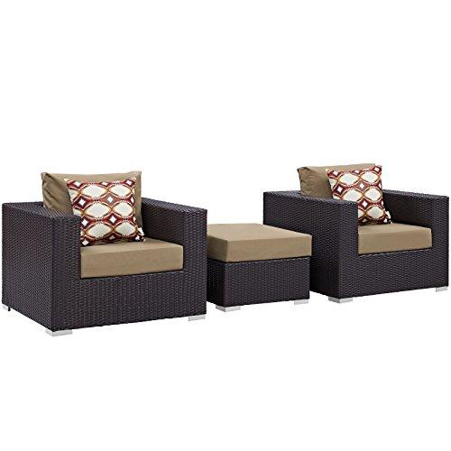 Cheap Modway Convene Wicker Rattan 3-Piece Outdoor Patio Furniture Set in Espresso Mocha
