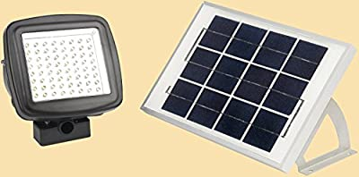 MicroSolar - Warm White - 64 LED - Lithium Battery - Solar FloodLight --- Automatically Working from Dusk to Dawn at Good Sunshine // with Wall Mounted Brackets and Ground Mounted Stakes // Adjustable Light Fixture from Left to Right, Up and Down