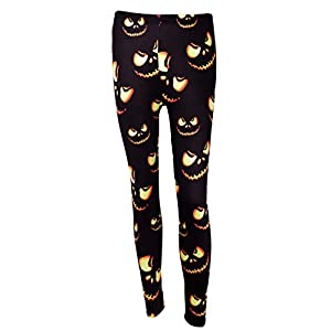 DREAGAL Halloween Fashion 3D Digital Print Stretchy Leggings Multi-Colored S-3X
