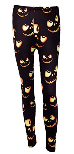DREAGAL Women's Halloween Pumpkin Spooky Spider Skull Leggings Large