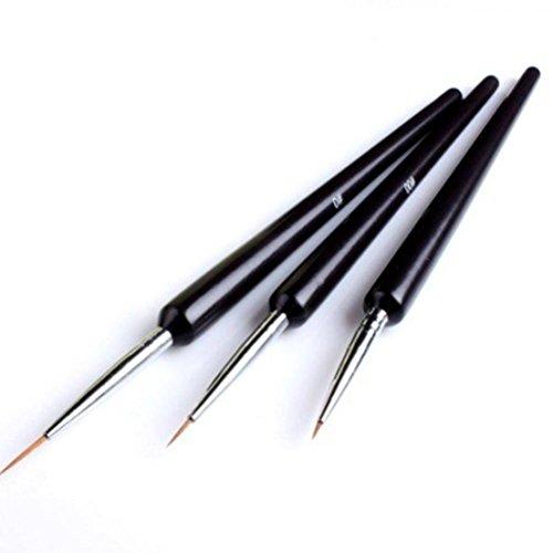 3Pcs Dotting Painting Drawing UV Gel Liner Polish Brush Tool Nail Art Pen -