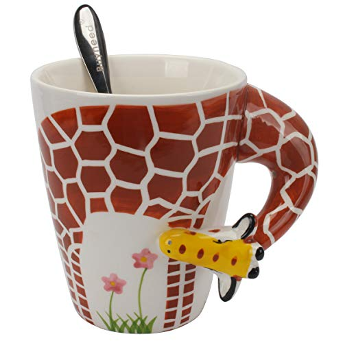 Novelty Funny Hand Painted Coffee Mug - Giraffe 3D Handle Handmade Large 15 oz Porcelain Tea Cup Unique Ideal Gifts ()