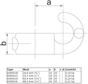 Stellschrauben /Ø 48,3 mm Temperguss thermisch vollbadverzinkt inkl Rohrverbinder Stellring Mit Haken
