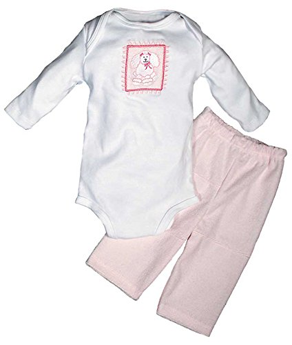 Raindrops Furry Friends Poodle Long Sleeve Body Suit Gift Set, Pink, 0-3 Months, 4 Piece