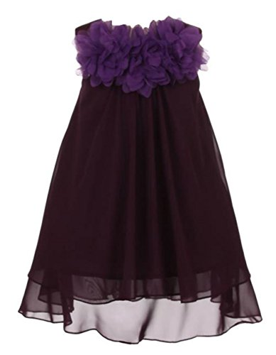 - Kid's Dream Girl's Mesh Chiffon Flower Girl Summer Dress Eggplant 14