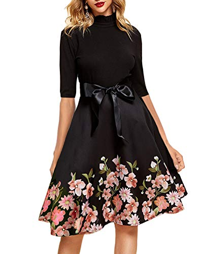 Flare Turtleneck (YIXUAN Women Half Sleeve Cocktail Party Stand Collar Fit and Flare Skater Dress Black Small)