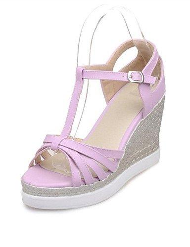 LFNLYX Zapatos de mujer-Tacón Cuña-Cuñas-Sandalias-Oficina y Trabajo / Vestido / Casual / Fiesta y Noche-Semicuero-Azul / Rosa / Morado / Blanco White