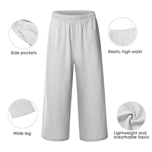 0c8c0d2b113dd Ecupper Womens Casual Loose Plus Size Elastic Waist Cotton Trouser Cropped  Wide Leg Pants