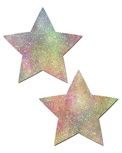 Rainbow Star Sparkle - Pastease Rainbow Sparkle Star Rave Pasties (Set of 2 Pasties)