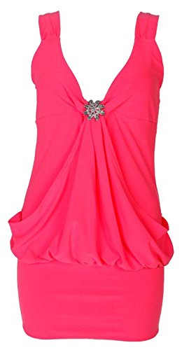 Xclusive Collection - Vestido - Básico - Sin mangas - para mujer rosa neón