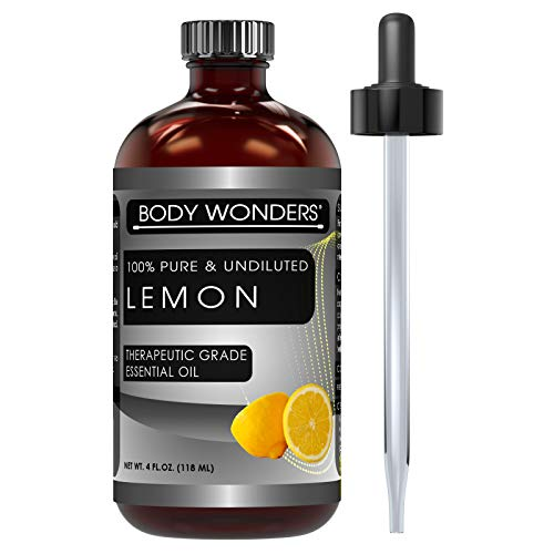 Body Wonders Lemon Oil Body Wonders 100% Pure Lemon Essential Oil 4 oz - Made from Real Lemon peels - Ideal for Aromatherapy Diffuse, Skin Care, Hair Care & for DIY Cleaning Products for Wood