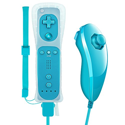Remote Controller For Wii And Wii U,XW02 Nintendo Wii Remote Control and Nunchuck With Silicone Case Wrist Strap Built-in Vibration Motor For Wii And Wii U-light blue