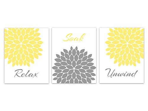 Unframed Prints ( Choose Yourサイズ – イエロー&グレー花バーストバスルーム壁アート –
