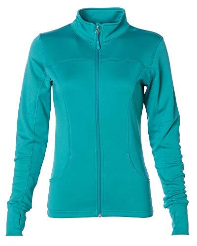 Global Women Lightweight Running Jacket Zip Up Yoga Workout Top Size Large Green