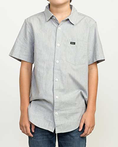 RVCA Big Boys' Arrows Shiort Sleeve Woven Shirt, Heather Grey, M (Sleeve Woven Shirt)