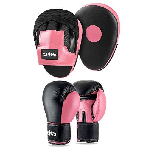 Lions Boxing Set Focus Pads Gloves Mitts Punch Bag MMA Training Hook /& Jab Smartie Black, 6oz-gloves
