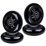 AOWISH 4-Pack Inline Skate Wheels 85A [Available in Sizes 64mm 72mm 76mm 80mm] Rollerblade Replacement Wheel with Bearings (80 mm/Black Hub Black Wheel)