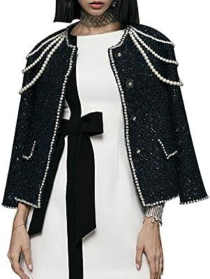 DGFHR Chaqueta De Mujer Abrigo De Tweed De Manga Larga para Mujer Perlas De Abalorios De Diamantes Abrigos Cortos para Mujeres Ropa De Otoño, Negro, S