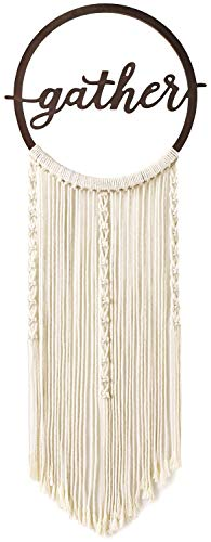 Mkono Macrame Hanging Wall Decor Woven Tassel Boho Dreamcatcher Minimalist Decor Circle Art Hoops with Gather Sign Ornament Gift -