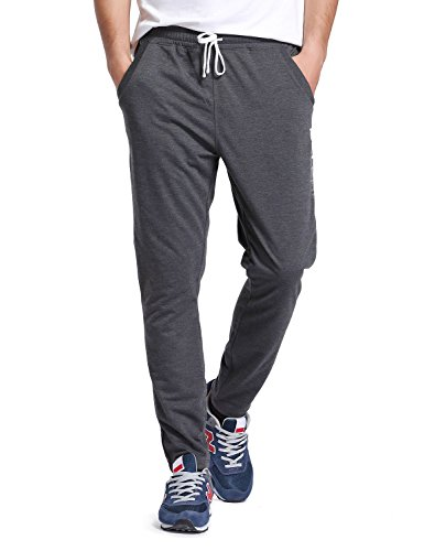 BALEAF Men's Tapered Athletic Running Pants Joggers Workout Sweatpants with Pockets Dark Gray Size L