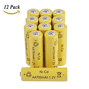 12-Pack AA Rechargeable Batteries 1.2V 700mAh Nicd Battery for 1/16 Drift Car , Electric Toys , Remote Controller , Solar Lights,Wireless Mouse , Keyboard and More by Hobby-Ace