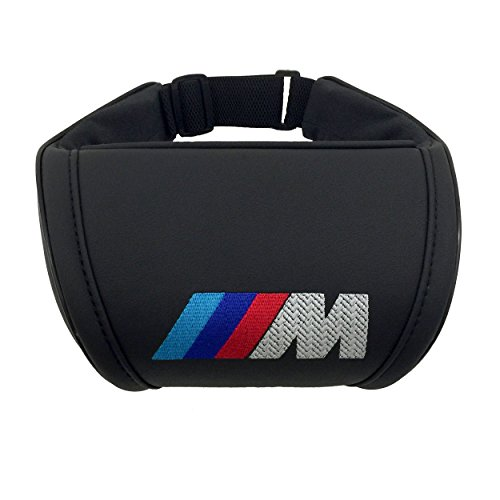 Car Interior Black Neck Support Pillow Headrest Neck Cushion with Embroidered Emblem Accessories Compatible for BMW M Great idea for a Gift to The Driver!