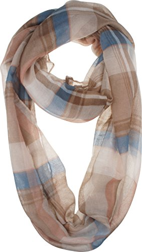 VIVIAN & VINCENT Soft Light Elegant Solid Plaid Check Sheer Infinity Scarf (Tartan Check)