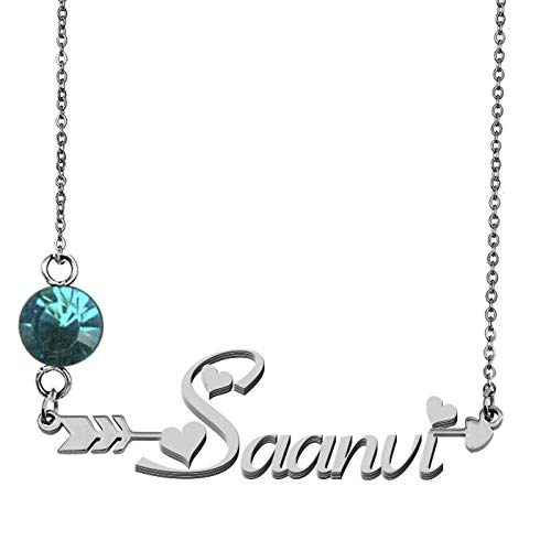 (GR859C Custom Nameplate Birthstone Necklace Saanvi Pendant)