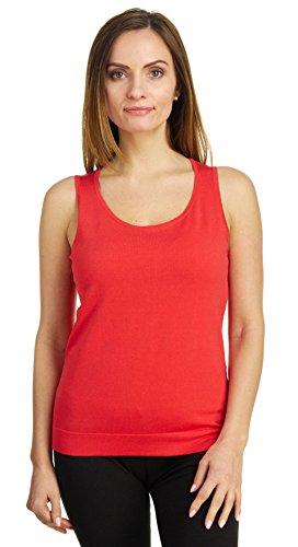 August Silk Women's Sleeveless Round Neck Soft Jersey Knit Shell Tank Top, Orange Crush, Large -