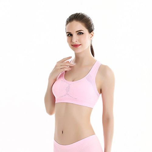 fenyi para mujer hueca sin costuras Yoga sujetador de chaleco de deporte Rosa