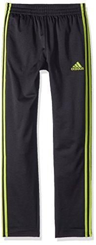 adidas Boys' Tricot Pant, Black/Yellow, Large (Embroidered Interlock)
