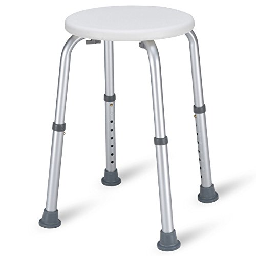 Giantex Adjustable Bath Stool Shower Tub Chair Medical Tool Lightweight Compact for Elderly, Senior, Handicap, Disable Bathroom Safe Chair W/Anti-Slip Rubber Caps Steel Bathtub Seat ()