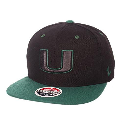 (Zephyr Miami Hurricanes 2-Tone Z11 Adjustable Snapback Cap - NCAA, Flat Bill Baseball Hat)
