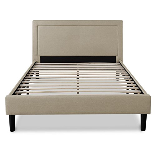 Zinus Mckenzie Upholstered Detailed Platform Bed Mattress Foundation Easy Assembly Strong Wood Slat Support, King