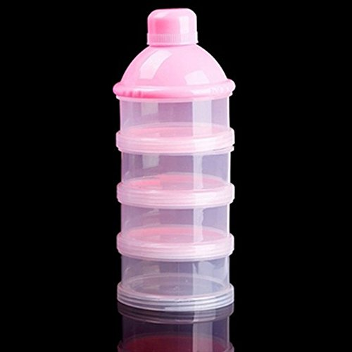 TOOGOO Formula Dispenser, BPA Free Non-Spill Baby Milk Powder Dispenser & Snack Cup Storage Container (Pink)