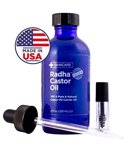 Radha Beauty Castor Oil - 100% Pure Cold Pressed Carrier Oil (4 oz.) with Dropper and Lash/Brow Brush, Serum for Hair, Eyelash, Eyebrow Growth, Moisturizing Treatment for Dry Skin and Body