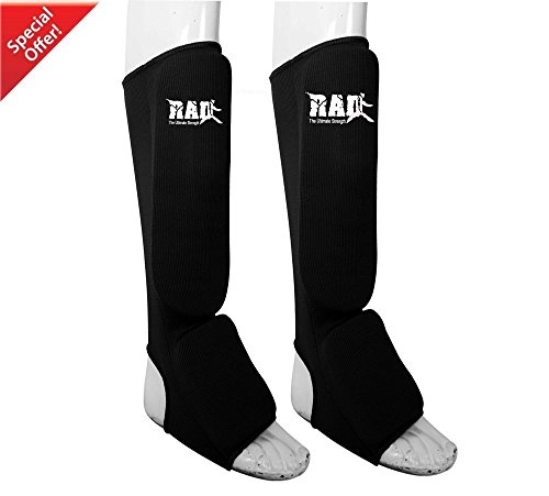 RAD MMA Shin Instep Foam Pad Support Boxing Leg Guards Foot Protective Gear Kickboxing Black (Large)