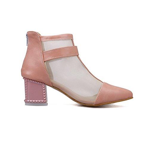 Amoonyfashion Mujeres Cremallera Pu Dedo Puntiagudo Kitten-heels Sandalias Sólidas Rosa