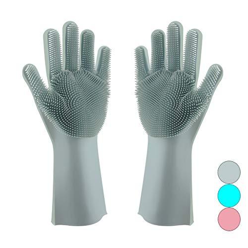 - Magic Silicone Dishwashing Gloves Scrubber-Silicon Rubber Brush Cleaning Gloves with Wash Scrubber for Kitchen,Household, Washing Car, Pet Hair Care (Light Blue)