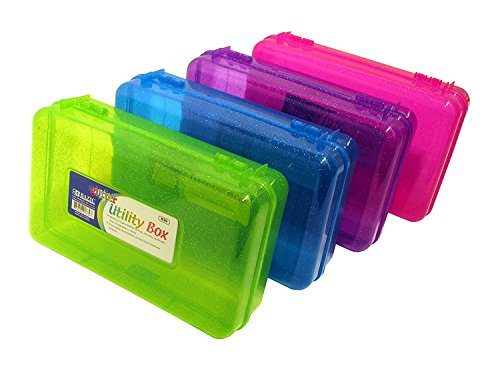 BAZIC Set of 4 Glitter Utility Storage Box for School Supplies or Arts & Crafts 8
